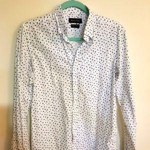 Massimo Dutti White Printed Dress Shirt